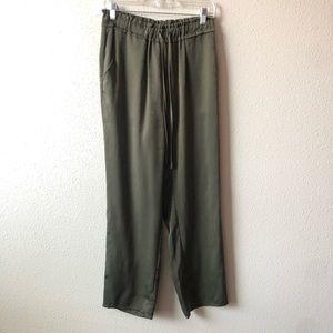 Free Press Military Green Elastic Tie Waist Pants